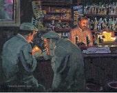 Color Print of Oil Painting, Dark Pub, Ireland