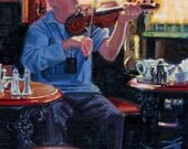 Color Print of Oil Painting, Pub Fiddler Irish Scene 175, Ireland