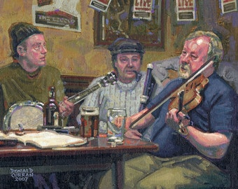 Color Print of Oil Painting, Pub The Old Tunes, Ireland