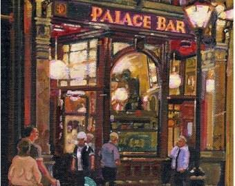 Color Print of Oil Painting, Dublin Pub Irish Scene 45, Ireland