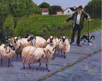 Color Print of Oil Painting, Shepherd Dog Irish Scene 135, Ireland