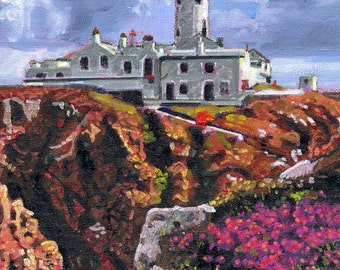 Color Print of Oil Painting, Fanad Head Lighthouse Irish Scene 177, Ireland