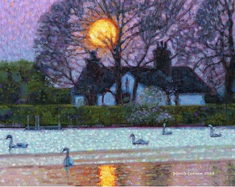 Color Print of Oil Painting, Irish Cottage Swans 100, Ireland