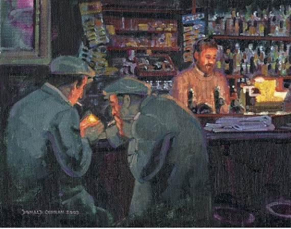 color print of oil painting dark pub ireland On pub and paint
