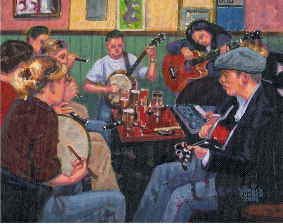 Color Print of Oil Painting, Pub Partying, Ireland