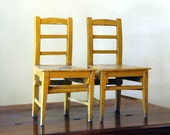 RESERVE Antique Wood Children's Chairs // The Yellow Pair