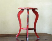 Antique Wood End Table // Little Red
