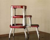 Vintage Industrial Step Stool // Red Slider