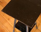 Antique Wood End Table // Black Spiral