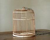 Vintage Wicker Birdcage // Wooden Song Bird
