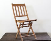 vintage wood folding chair, camp chair, slat wood chair