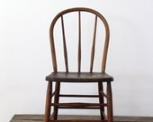 Vintage Spindle Back Chair / 1930s Wood Chair