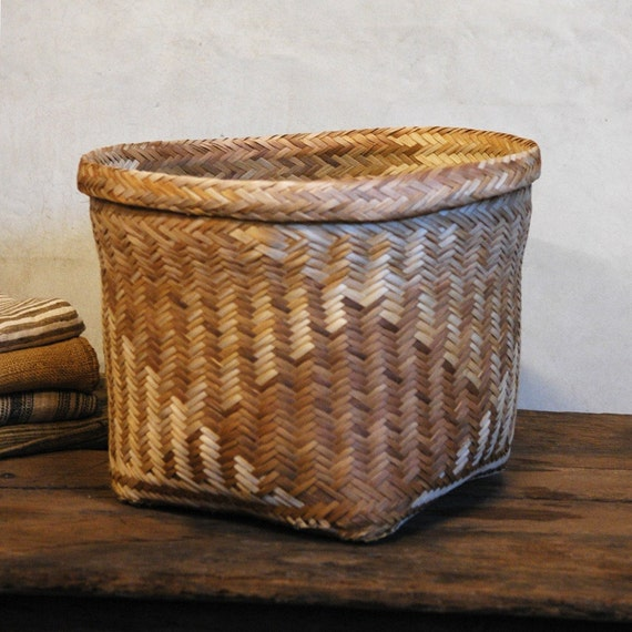 How To Hand Weave A Basket : Weave vintage hand woven basket by home on etsy