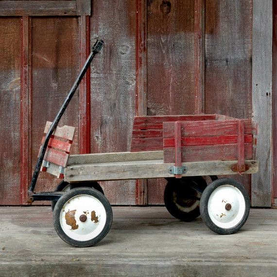Reserve Vintage Red Wood Wagon Pull Along