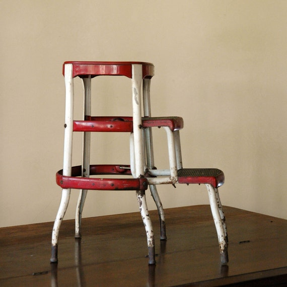 Vintage Industrial Step Stool Red Slider