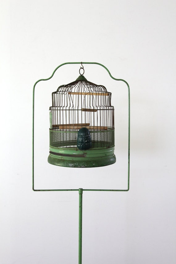 Antique Birdcage with Stand // 1920s Green Bird Cage