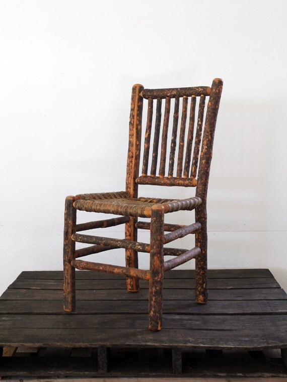 Antique Log Chair // Rustic Wood Chair