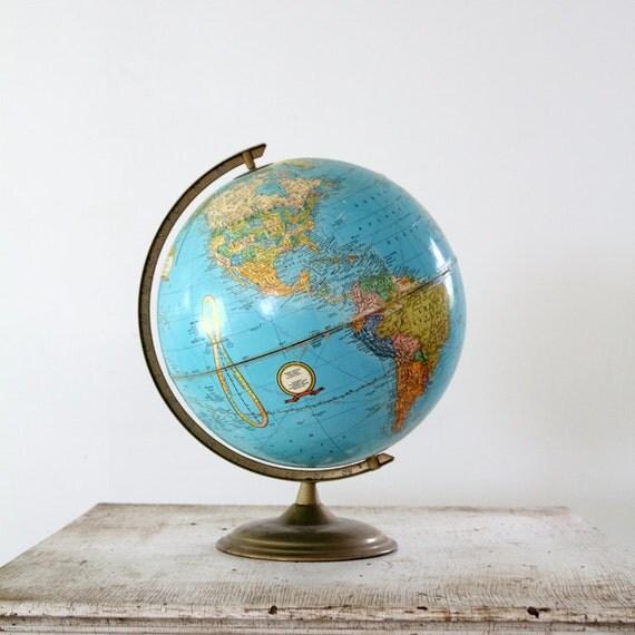 1960s World Globe // Vintage Cram Globe