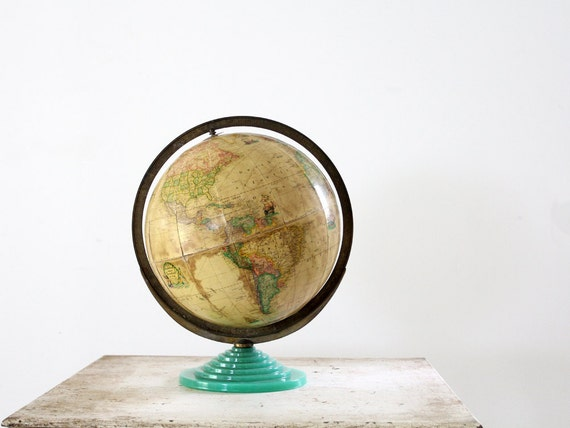 1930s Globe // Rand McNally Globe with Green Glass Base
