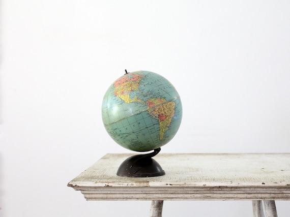 1930s World Globe / Vintage Small Replogle Globe / 7 inch