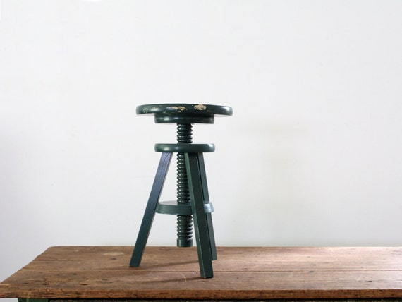 Antique Piano Stool // Painted Green Seat