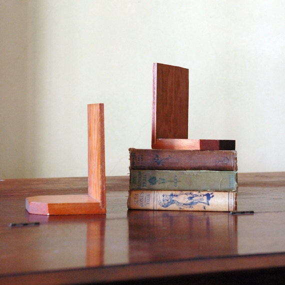 1940s Bookends // Vintage Wood Book Ends