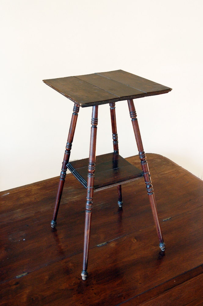 Wooden Spindle Table ~ Antique wood end table spindle leg