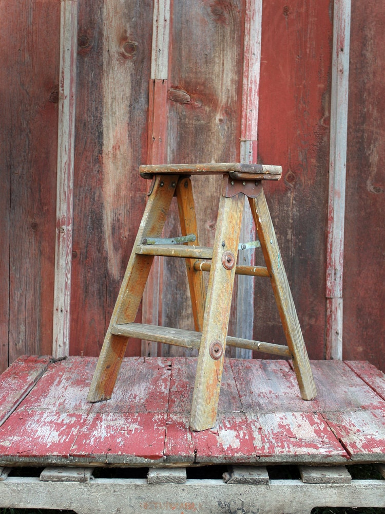 Vintage Step Ladder // Wood Step Stool by 86home on Etsy