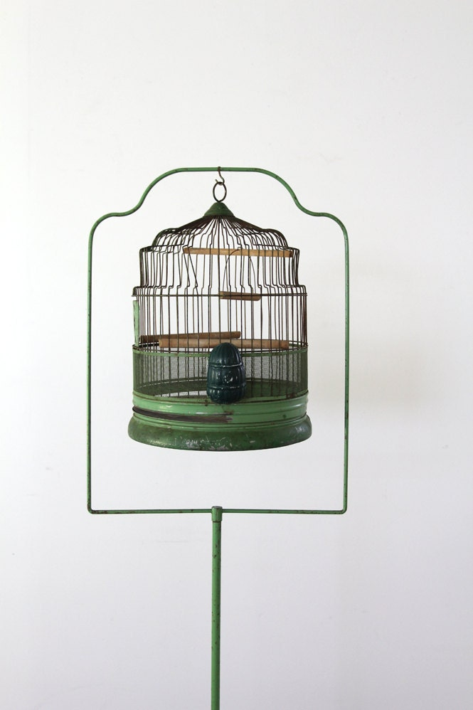 Antique Birdcage With Stand 1920s Green Bird Cage