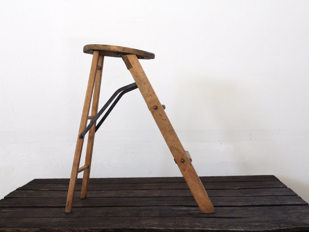 Antique Wood Stool Jrg Ladder Stool