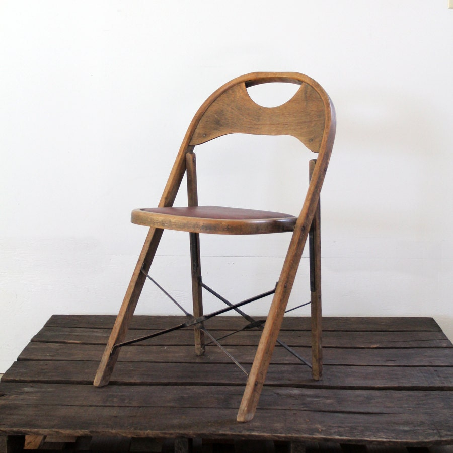 Vintage Folding Chair Wood & Metal Folding Chair