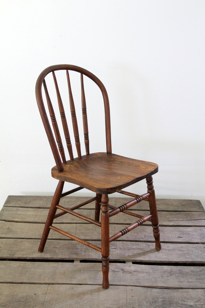 Vintage Spindle Back Chair Wood Dining Chair