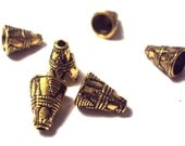 6pcs Antique Gold Patterned Cone Bead Caps - 11x9mm. Bali Style.