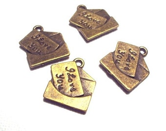 2 pcs I Love U Antique Bronze Charms - 14x15mm