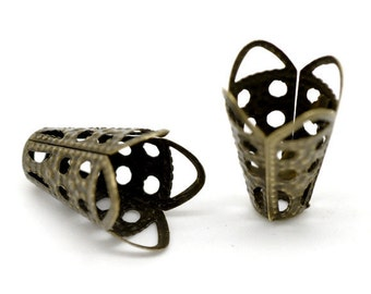 12 Pcs Plated Bronze Filigree Iron Bead Cap Cone - 11mm. N