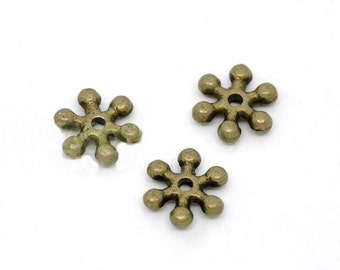 12 pcs Antique Bronze Snowflake Spacer Beads - 8x2mm. N