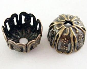 50 pcs Antique Bronze Filigree Bead Caps. Vintage Brass Findings.