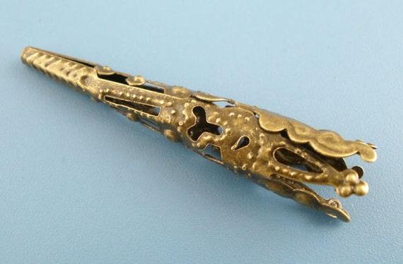 12 Pcs Plated Brass Filigree Iron Bead Cap Cone - 8mm. N