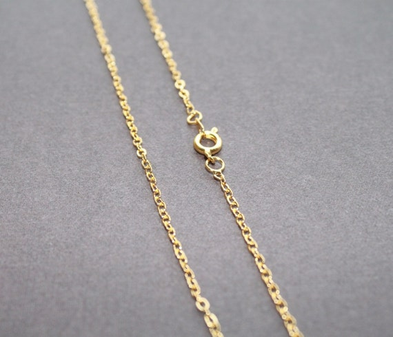 "5pcs Gold Plated Brass Cable Chain Necklaces 18"" length. 2.2x2mm Closed Flat Links. Spring Ring Clasp"