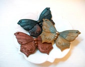 SOAP, Butterfly Trio Soap in Warm Metallics, Scented in Mandarin Spice, Handmade, Vegetable Based