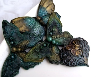 BUTTERFLY SOAP, Stunning Emerald Green & Black Butterflies and Hearts, Scented in Bergamot and Violet, Vegan Friendly, Vegetable Based