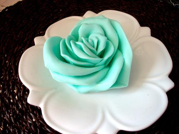 ROSE SOAP, Heart, Aqua, Light Teal, Rose Heart, Valentine's Day, Scented in White Tea, Handmade, Vegetable Based Soap