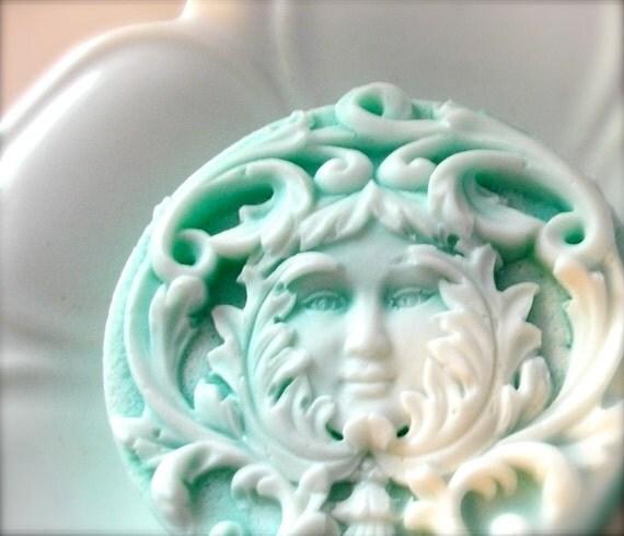 LEAF LADY SOAP, Art Nouveau Leaf Lady Design, Dimensional Teal Leaf Lady Soap, Green Clover & Aloe, Moisturizing, Vegetable Based, For Mom