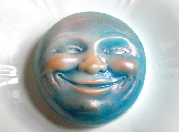 MOON Soap, Man in the Moon, Giggling, Love you to the Moon, Valentine's Day, Scented in Peppermint, Handmade, Vegetable Based
