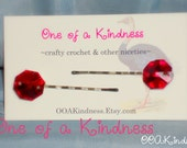 Bright Translucent Red Faceted Acrylic Gem Hairpins, set of 2