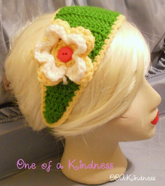 Wide Green Acrylic Crochet Headband with Yellow Trim, Yellow & White Crochet Flower, ties for fit
