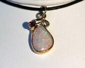 Awesome Australian Opal in 14kt. Gold Pendant