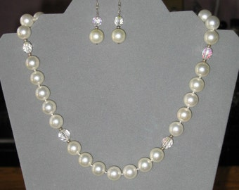 "South Sea Pearls Look-A-Like Necklace Set, Sterling Silver, Mother of Pearl, Crystals, 19"", Bridal Gift"