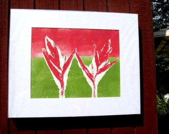 Botanical relief print from nature, coral, green, tropical plants, Great gift for gardeners, original art, heliconias,  hand-pulled print