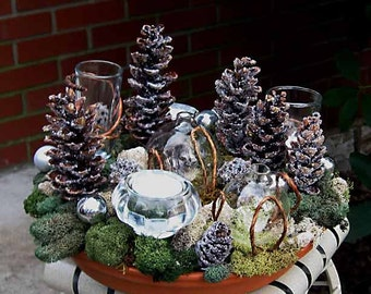 ON SALE! Tabletop topiary moss centerpiece, frosted pine cone forest with bud vases & tealights, for fresh flowers and candlelight